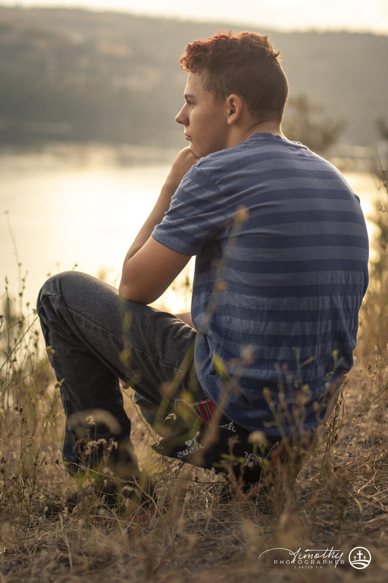 Teenager thinking while looking over the view