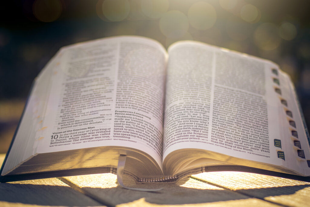 Light shining on the bible