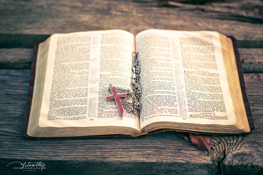 rustic wood bible and sunlight