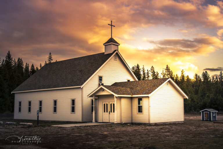 Small country church at sunset