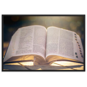 Open Bible in Devine Light. Framed matte paper poster