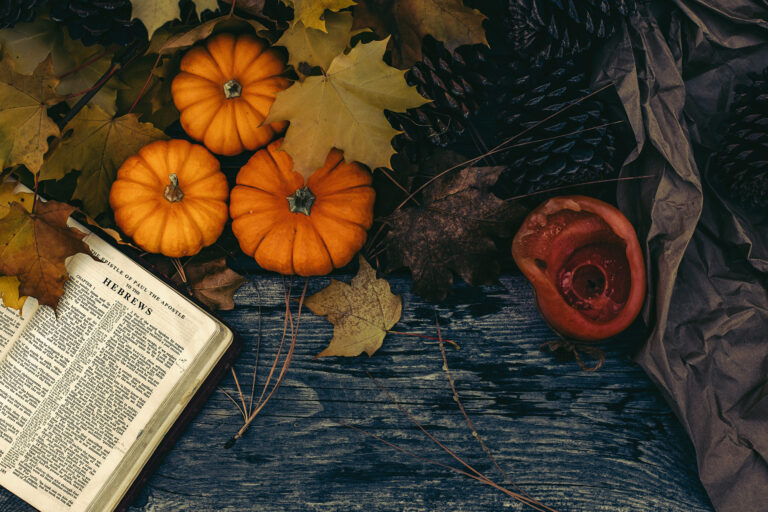 October Scene in Autumn with the bible and fall leaves