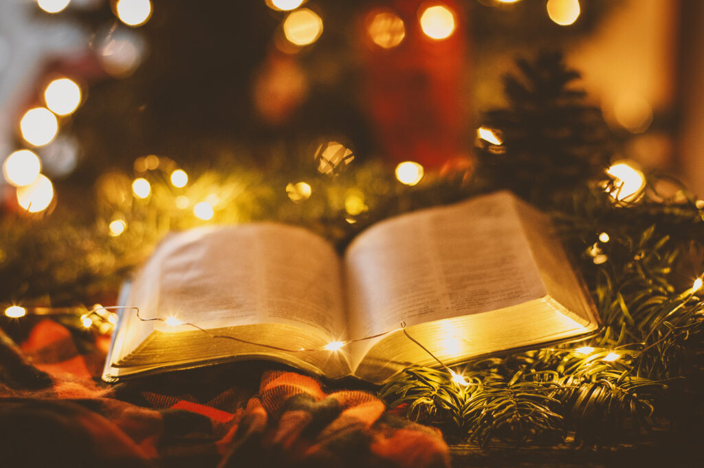 Christmas. Bible. Lights. Tree.