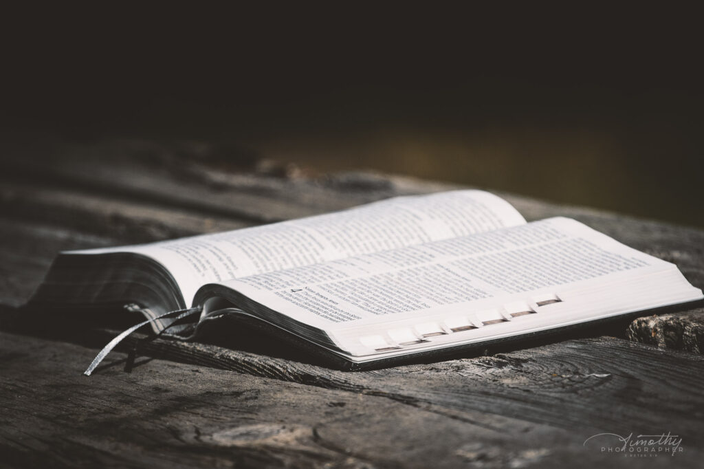 Bible on table for bible study