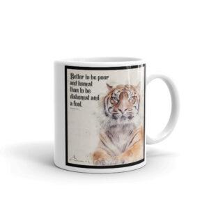 White glossy Proverbs 19 mug