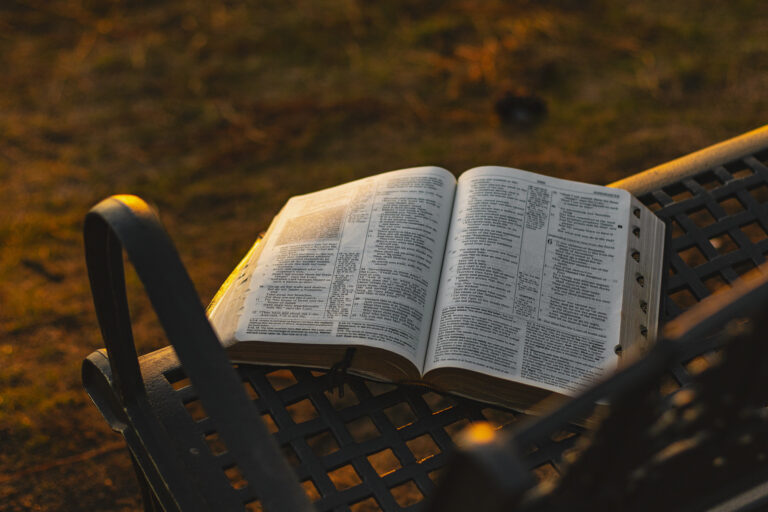 Bible on a bench