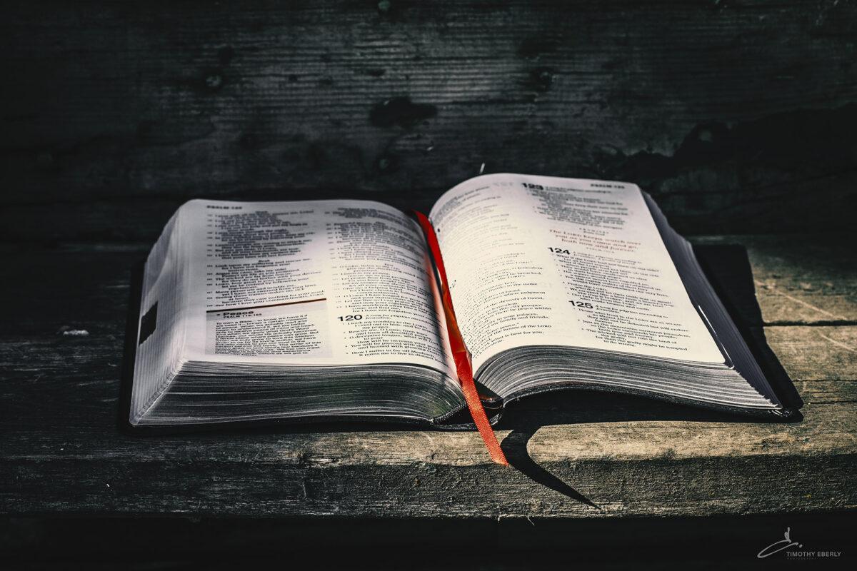 Rustic bible outdoors